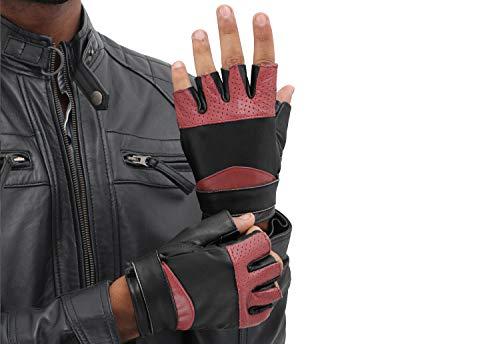 Mens Leather Black Workout Gloves - Adult Lambskin Fingersless Gym Gloves (M)