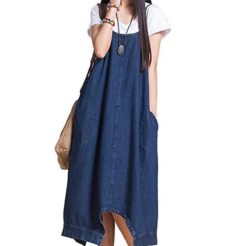 OMUUTR Damen Kleid Jeanskleid Blusenkleid Sommerkleid Träger Ärmellos Freizeitkleid Lange Jeans Kleider Loose Schulterfrei V Ausschnitt Taschen Partykleid Frauen Trägerkleid Schlank Overall Blau
