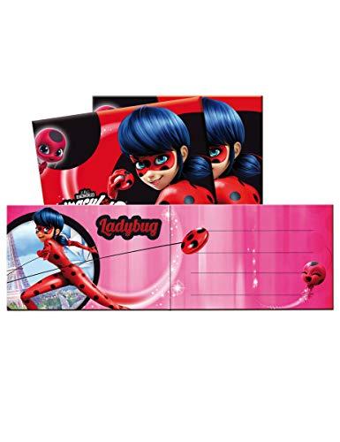 Generique - Ladybug-Lizenzprodukt Einladungskarten 6 Stück pink-schwarz