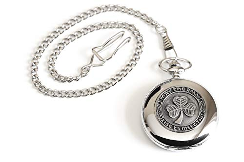 Shamrock Pocket Watch Made in Ireland Shamrock Pewter Medallion Stainless Steel Case with Chain Biddy Murphy Exclusive Made by Mullingar Pewter on Co. Westmeath, Ireland