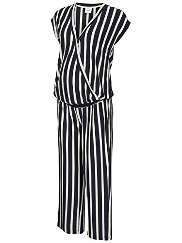 Mamalicious Mlbecky S/s Jersey Jumpsuit Salopette Premaman, Multicolore (Navy Blazer Stripes: Y/D Snow White), 48 (Taglia Produttore: X-Large) Donna