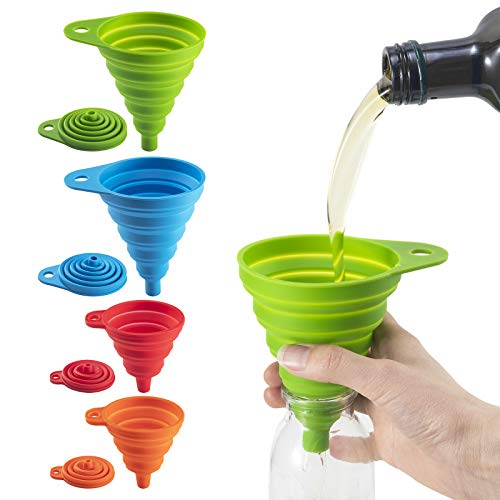 Hasgard-Funnels-Collapsible-Silicone-Set-Filling-Small-Bottles, Set of Four, Foldable Upgraded Funnels, Fold Almost Flat for Space Saving