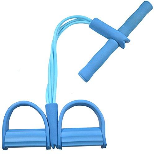 RGTR72 Bauchtrainer, 4 Röhren, Fußpedal, Zugseil, Widerstand, Sit-Up, Fitness, Yoga-Ausrüstung, blau, Free Size