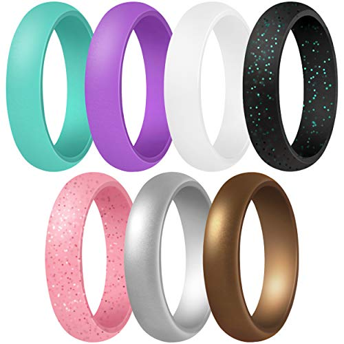 ThunderFit Women's Silicone Wedding Ring - Rubber Wedding Band - 5.5mm Wide, 2mm Thick (Teal, Purple, White, Silver, Bronze, Black Glitter, Pink Glitter - Size 5.5-6 (16.5mm))