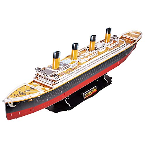 """CubicFun RMS Titanic Model Cruise Ship 31.5"""" 3D Puzzles for Adults and Teens, Brain Teaser and Stress Relief Gifts for Men and Women, 113 Pieces"""