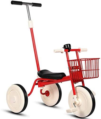 Triciclo para niños, bicicleta de entrenamiento para niños de 1 a 6 años de edad, cochecito de bebé ligero de pedal-rojo