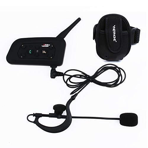 V6C Intercomunicador Bluetooth Motocicletas,Intercomunicador de Casco,Casco Auriculares para Árbitro Deportivo, Arm Bolsa /1200m de Alcance