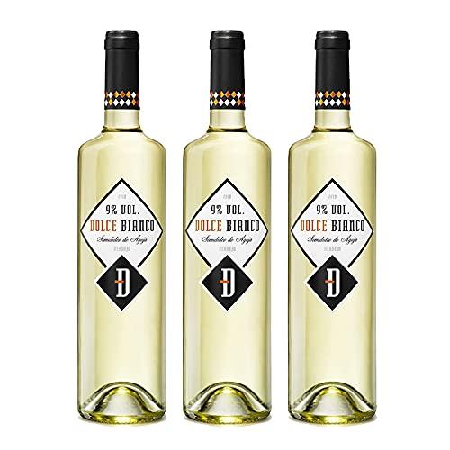 Vino Blanco Dolce Bianco Semidulce Frizzante de 75 cl - D.O. Rueda - Bodegas Cuatro Rayas (Pack de 3 botellas)