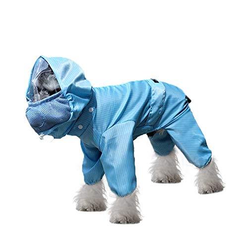 Haustier-Schutzkleidung mit Gesichtsschutz, atmungsaktiv, abnehmbar, verstellbar, Hundekostüm, schützt Haustier vor Staub, Partikeln, S, blau