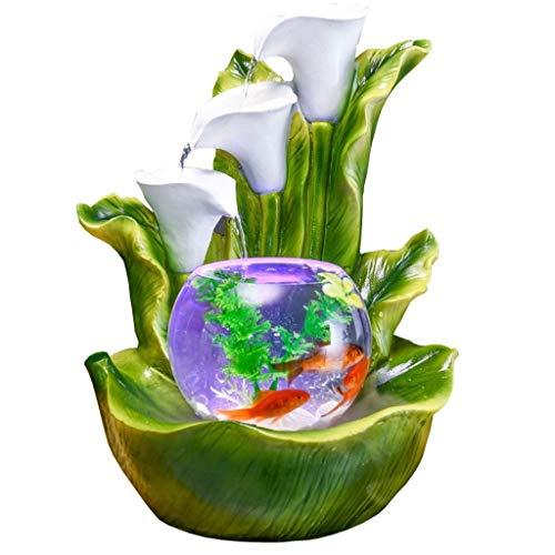 Fuente de agua compacta de escritorio para interiores, diseño de lirio, fuente de agua, tamaño pequeño, hace que sea una decoración perfecta de mesa con decoraciones de pecera.