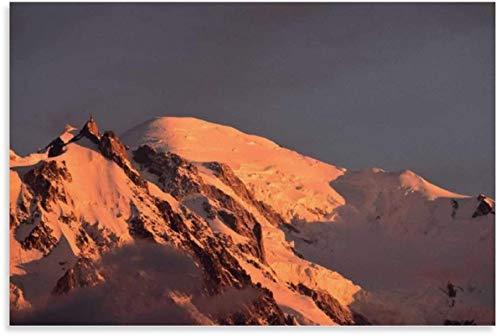 TANXM Lienzos De Fotos 30x50cm Sin Marco Póster de Puesta de Sol de Mont Blanc y Cuadro de Arte de Pared con impresión de póster Moderno para decoración de habitación Familiar