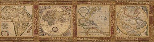 Chesapeake MAN01832B Oliver Map Wallpaper Border, Burnt Sienna