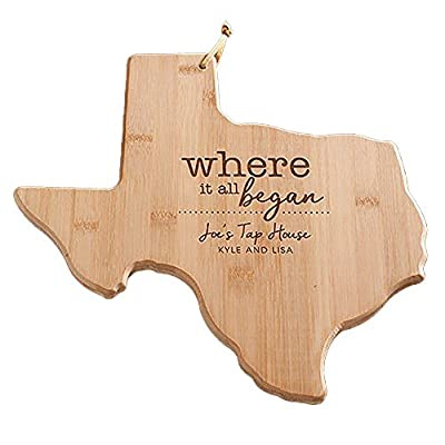 Engraved Where It All Began Texas Cutting Board, Bamboo, Personalized
