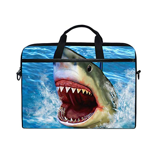Moyyo Great White Shark Jumping Out of Water Laptop Bag Laptop Case with 3 Compartment Shoulder Strap Handle Canvas Computer Bag Personalised for Women Men Kids Girls Boys 15 inch