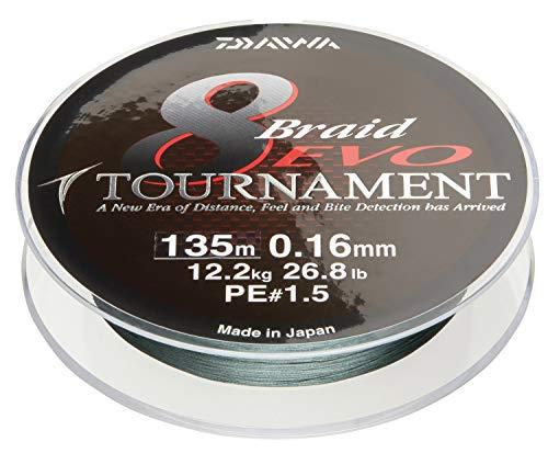 Daiwa Tournament 8 Braid Evo, Dunkelgrün, 0.14mm, 10.2kg / 22.4lbs, 1000m, Rund Geflochtene Angelschnur, 12782-014