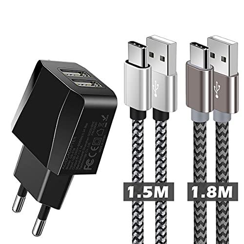 Cargador Móvil con Cable USB Tipo c, Cargador USB Tipo C con 2 Puertos, Cargador Tipo c para Samsung s9/s8/s10,Note 9/8,Huawei p20 pro/p10/p9/p8,xiaomi mi a2,mi 8/9,y más Cargador USB C Dispositivos
