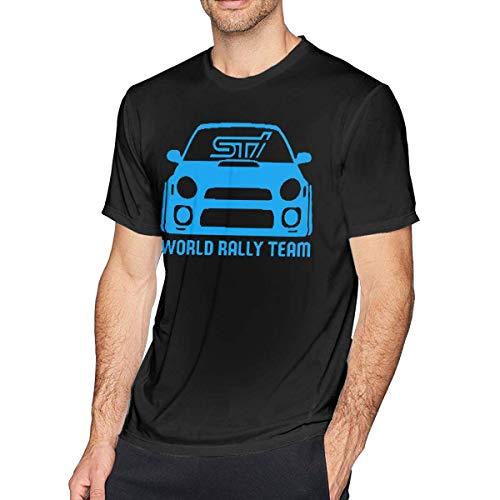 SOTTK Camisetas y Tops Hombre Polos y Camisas, O-Neck Fashion STI WRX World Rally Team Short Sleeve T-Shirt for Mens and Boys Black
