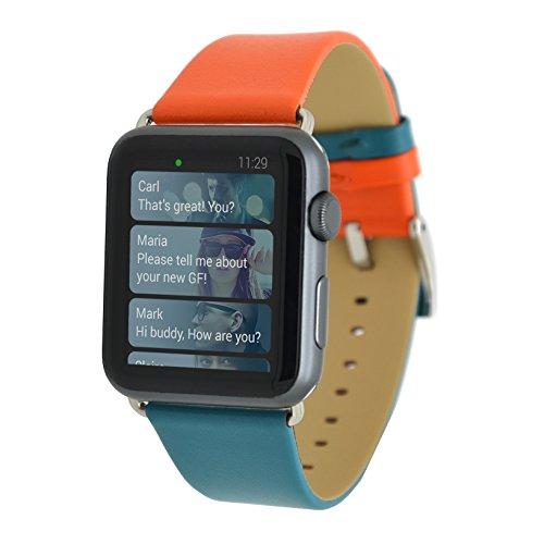 MisVoice Apple Watch Cinturino 38mm,iWatch Series 3 Series 2 Doppio Colore Cinturino in Vera Pelle Fascia di Polso di Ricambio con Chiusura in Metallo Chiusura Fibbia per Apple iWatch Serie1[Orange