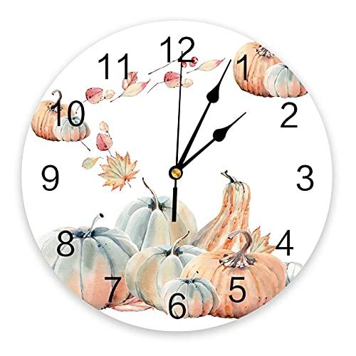 Reloj de Pared Acción de Gracias Hoja de Arce Reloj de Pared de Calabaza Diseño Moderno Decoración del hogar Reloj de Pared silencioso Decoración para Sala de Estar Reloj de Pared