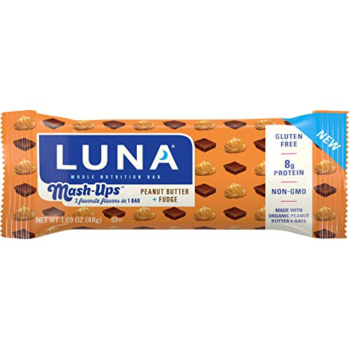 Luna BAR - Mashups - Gluten Free Snack Bars - Peanut Butter Fudge - 8g of Protein - Non-GMO - Plant-Based Wholesome Snacking - On The Go Snacks (1.69 Ounce Snack Bar, 15 Count)