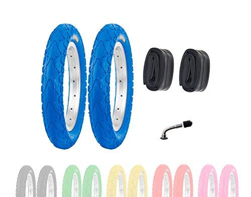 P4B | 2X 12 Zoll Kinderreifen (62-203) | 12 1/2 x 2 1/4 | Laufradreifen mit Breiten Mittelsteg für mehr Stabilität beim Fahren | Ohne Felgen!! (G) Blau mit AV Schläuchen
