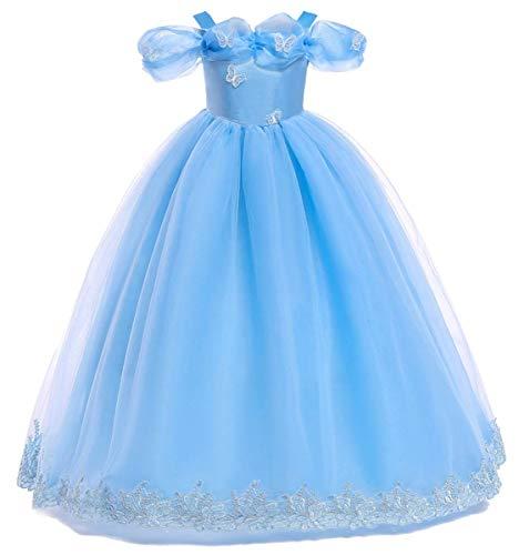 EMIN Mädchen Prinzessin Kleid Cinderella Schmetterlinge Maxikleid Party Outfit Aschenputtel Kleid Kostüm Schmetterling Verkleidung Karneval Faschingskostüm Cosplay Party Halloween Festkleid Abendkleid