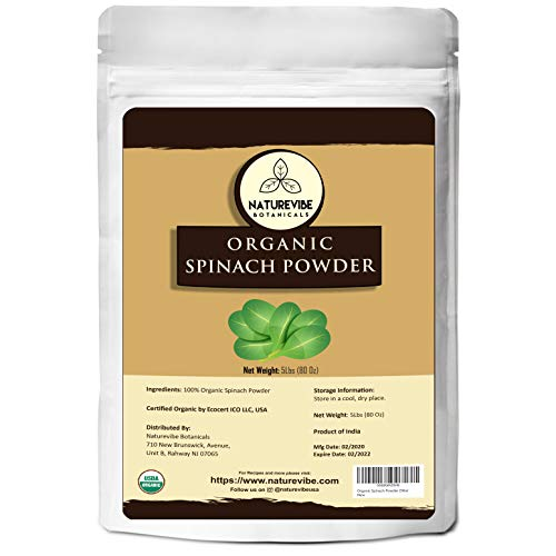 Naturevibe Botanicals Spinach Powder, 5lbs | Non-GMO and Gluten Free | Rich in Vitamins | Boost Immune System (80 ounces)