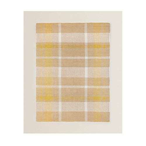 Classic Equipment - Alfombra de interior anudada a mano de algodón natural a rayas, color amarillo pardusco espesar para sala de estar, sofá, mesita de noche, dormitorio infantil (tamaño: 90 x 150 cm)