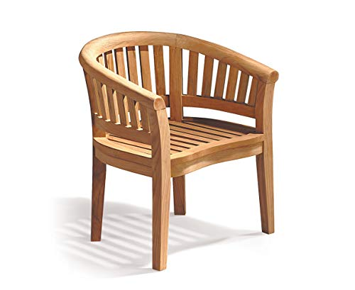 Teak Curved Banana Garden Chair, Outdoor Armchair - Jati Brand, Quality & Value