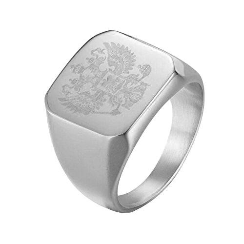 Fengteng Silber Quadratform Gravur Fahne Flaggen Russland Wappen mit Adler Ring imperial russia Herrenring Schmuck (57 (18.1))