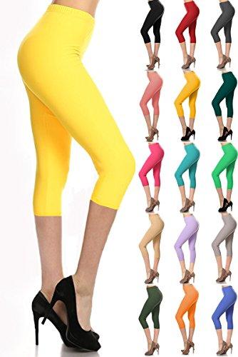 Leggings Depot Women's Popular Basic Capri Cropped Regular and Plus Solid High Waist Leggings (Plus (Size 12-24), Yellow)