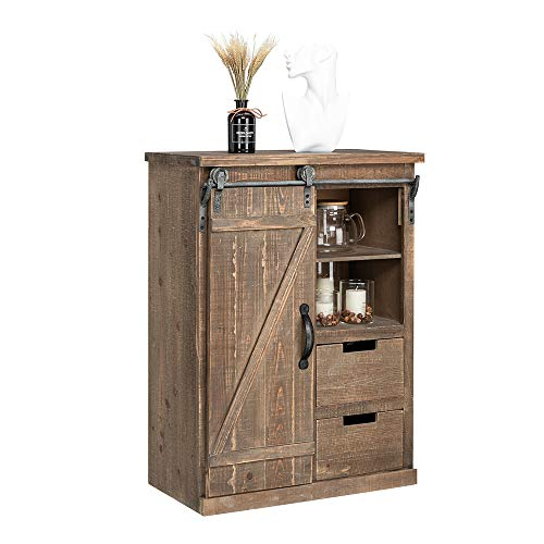 Henf 33 Farmhouse Barn Door Wood Accent Chest with Drawer Bar Storage Entry Table Home Coffee Station Buffet Storage Cabinet in Living Room Entryway Burly wood