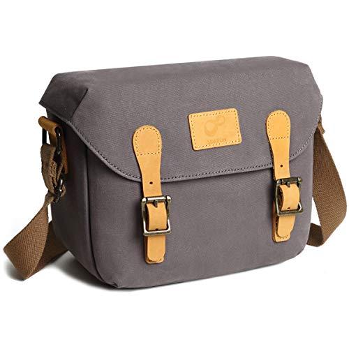 Medium Camera Bag DSLR Shoulder Bag Canvas Removable Inserts Messenger Bag Waterproof Digital Camera for Sony, Canon(Medium, Grey)