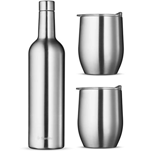 Wine Chiller Gift Set - Vacuum Insulated Wine Bottle 750ml \u0026amp; Two Wine Tumbler With Lids 16oz. Made of Shatter Proof 18/8 Stainless Steel \u0026amp; BPA FREE Lids, Perfect Wine Glasses for Travel, Picnic, Etc.