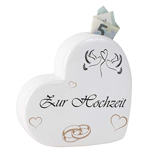 Lifestyle & More Moderne Spardose Sparschwein in Form eines Herzens für Hochzeit aus Keramik weiß 16x16 cm