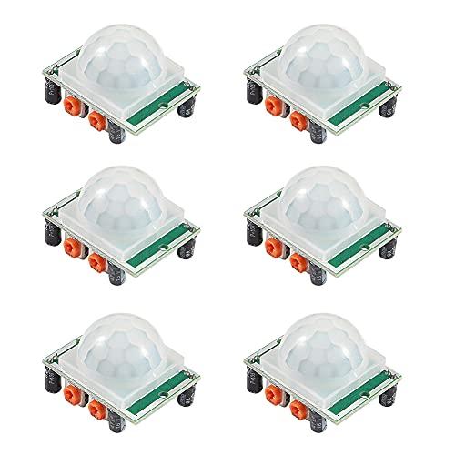 Dealikee 6pcs HC-SR501 PIR Infrared Sensor IR Human Body Motion Module for Arduino Raspberry Pi - Green