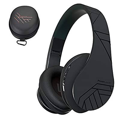 PowerLocus Bluetooth Over-Ear Headphones, Wireless Stereo Foldable Headphones Wireless and Wired Headsets with Built-in Mic, Micro SD/TF, FM for iPhone/Samsung/iPad/PC - Black from Powerlocus
