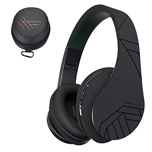PowerLocus P2 - Auriculares Bluetooth inalambricos de Diadema Cascos Plegables, Casco Bluetooth con Sonido Estéreo Micro SD/TF, FM con micrófono y Audio Cable para Movil, PC, Tablet - Negro