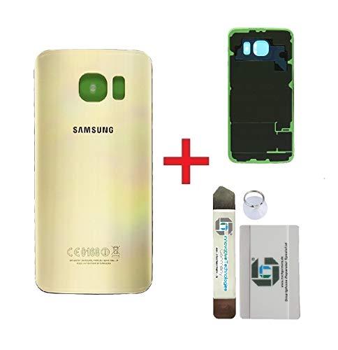 iTG® Original Akkudeckel Reparatur-Set für Samsung Galaxy S6 Gold (Gold Platinum) – Original Samsung Rückseite Batterieabdeckung für Modell SM-G920F + Vormontierte 3M Klebefolie + Werkzeug-Set