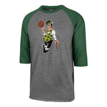 47 Boston Celtics Raglan Leprechaun Imprint Club 3/4 Sleeve T-Shirt - NBA Gray Tee Shirt  Medium