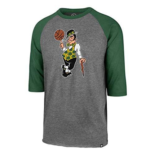 '47 Boston Celtics Raglan Leprechaun Imprint Club 3/4 Sleeve T-Shirt - NBA Gray Tee Shirt (Medium)