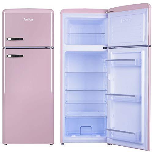 Amica Retro Kühl-/Gefrierkombination Pink KGC 15636 P 206 Liter mit **** Gefrierfach Cupcake Pink