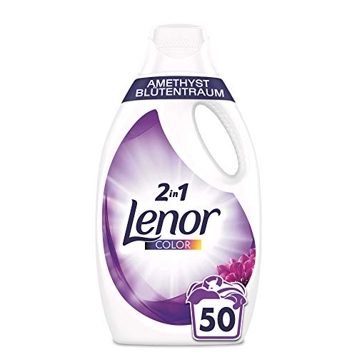 Lenor Waschmittel Flüssig, Flüssigwaschmittel, Color Waschmittel, 50 Waschladungen, Farbschutz, Amethyst Blütentraum (2.75 L)