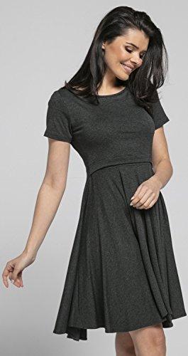 Happy Mama Damen Umstands Stillkleid Midi Schaukel Kleid Kurzarm.084p (Graphit Melange) - 3