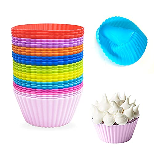 Silicone Baking Cups (27 Pack) Reusable Baking Cups Muffin Nonstick Baking cups Cupcake Silicone Liner Standard Size Silicone Cupcake Holder Reusable Cupcake Liners