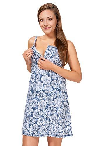 Sibinulo Camisón de Maternidad Pijama Lactancia Vestido Hospital Camisón para Madres Flores Azul Marino M