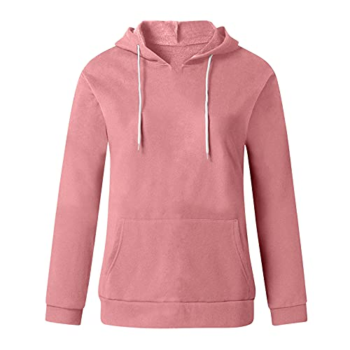 Uqiangy Hoodie Womens Classic Basic Hooded Athletic Top Lady Lightweight Casual Sweatshirt Blouse With Pocket,Multicolor (C-Pink, 16)