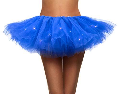 Simplicity Women's LED Light Up Neon Tulle Tutu Skirt Running Tutu,Royal Blue