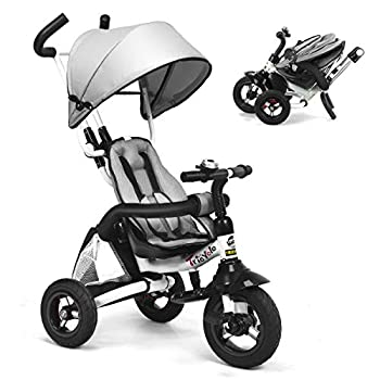 Costzon Baby Tricycle 6-in-1 Foldable Steer Stroller Learning Bike w/Detachable Guardrail Adjustable Canopy Safety Harness Folding Pedal Storage Bag Brake Shock Absorption Design  Gray