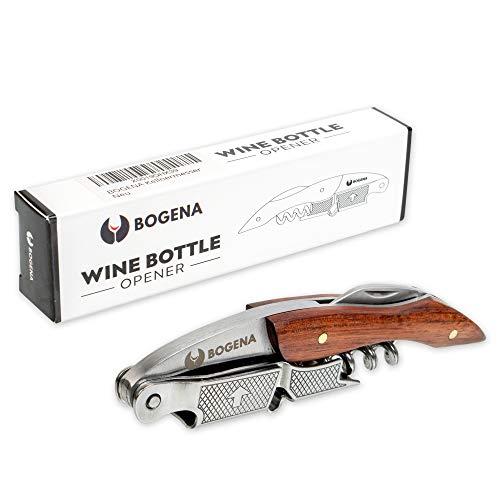 BOGENA Profi Kellnermesser - aus rostfreiem Edelstahl & Rosenholz - perfekt für den Gastronomie Bedarf & Zuhause - ideal als Weinöffner, Flaschenöffner & Korkenzieher